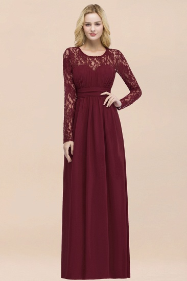 BMbridal Elegant Lace Burgundy Bridesmaid Dresses Online with Long Sleeves_54