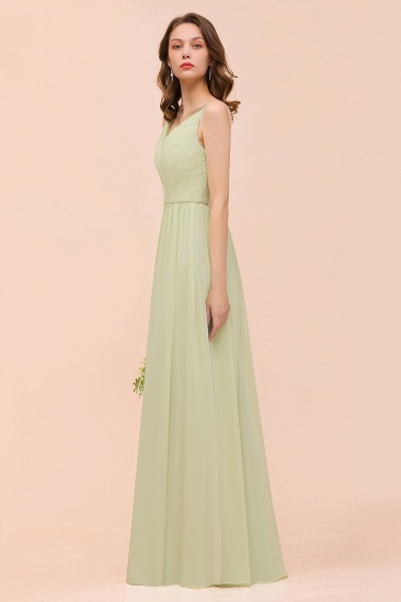 BMbridal Popular V-Neck Sage Chiffon Affordable Bridesmaid Dress with Low Back_7
