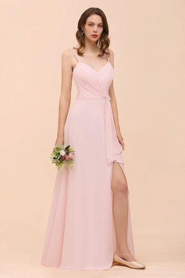 BMbridal Affordable Blushing Pink Spaghetti Straps Ruffle Bridesmaid Dress_8