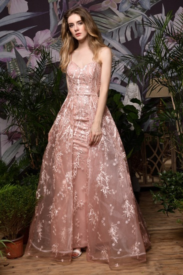 Pink Spaghetti-Straps Appliques Prom Dress Long Evening Gowns Overskirt_4