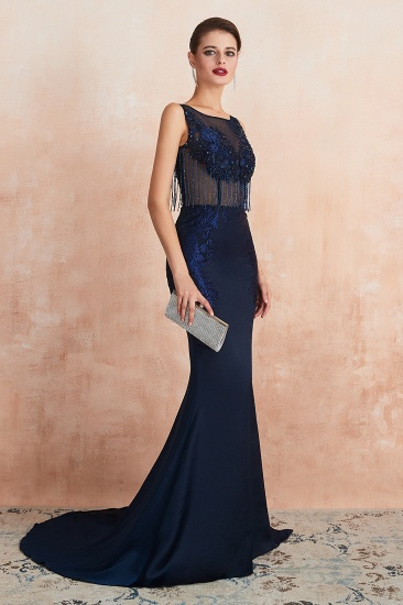 BMbridal Gorgeous Navy Mermaid Prom Dress With Appliques Tassels Online_4