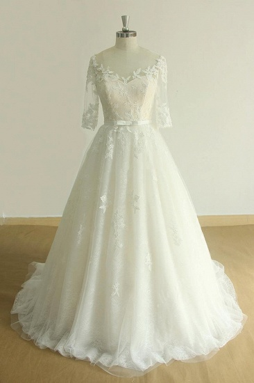 BMbridal Unique Halfsleeves Lace Tulle Wedding Dress A-line White Appliques Bridal Gowns On Sale_1