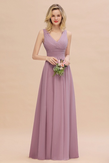 Elegant V-Neck Dusty Rose Chiffon Bridesmaid Dress with Ruffle_43