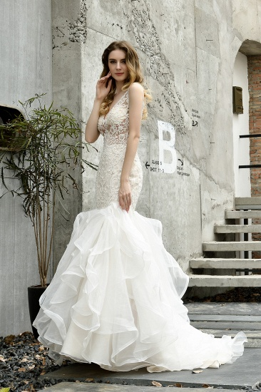Elegant Mermaid Tulle Lace White Wedding Dresses with Appliques_11