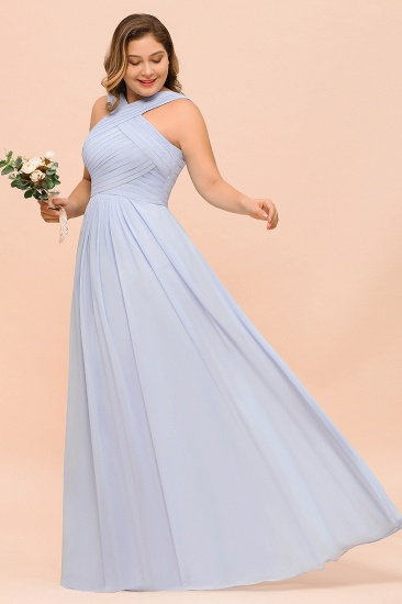 Plus Size Affordable Lavender Chiffon Bridesmaid Dresses with Ruffle_7