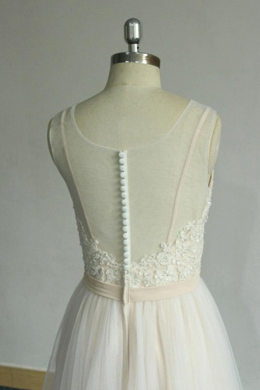 BMbridal Chic Straps Sleeveless Appliques Wedding Dress A-line Tulle White Bridal Gowns On Sale_7