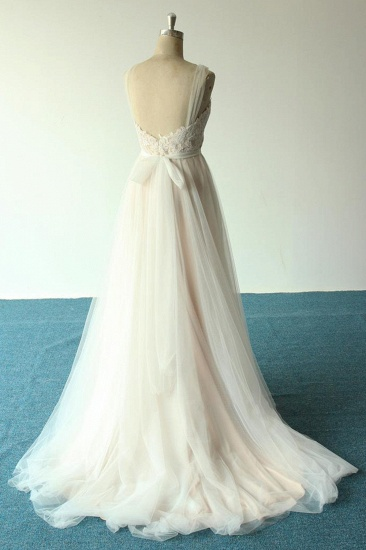 BMbridal Affordable Jewel Sleeveless A-line Wedding Dresses Tulle Lace Bridal Gowns Online_3