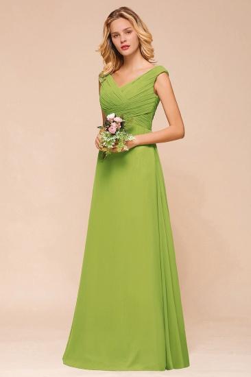 Affordable V-Neck Sleeveless Green Chiffon Bridesmaid Dress Online_8