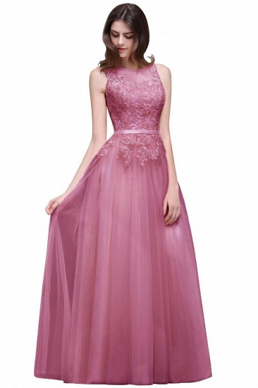 BMbridal Lace Sleeveless Long Tulle Prom Dress_2