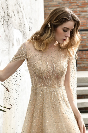 BMbridal Luxurious Tulle Crystals Long Prom Dress Online With Ruffle Sleeves_8