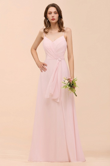 Affordable Blushing Pink Spaghetti Straps Ruffle Bridesmaid Dress