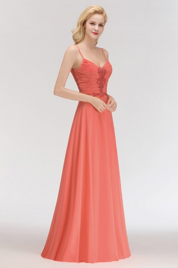 BMbridal Modest Spaghetti-Straps Ruffle Affordable Bridesmaid Dress with Appliques_6