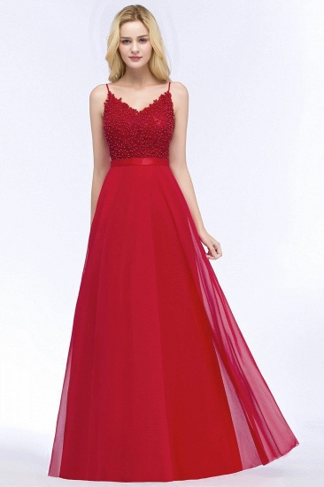 BMbridal Spaghetti Straps V-Neck Chiffon Lace Evening Dress_6