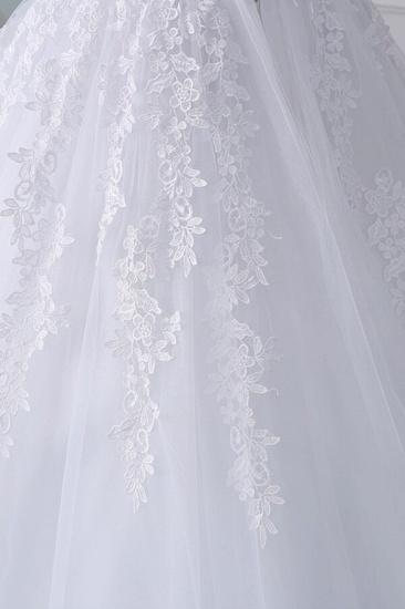 Unique Off the Shoulder Appliques Lace Wedding Dress Ball Gown White A-line Bridal Gowns On Sale_7