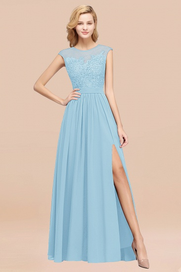 Affordable Scoop Lace Appliques Yellow Bridesmaid Dresses with Slit_23