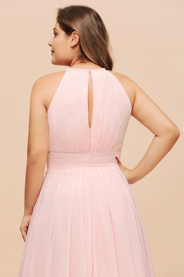 BMbridal Affordable Plus Size Chiffon Round Neck Pink Bridesmaid Dress_9