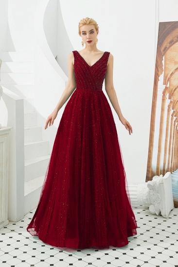 Glamorous Green V-Neck Sleeveless Prom Dress Long With Beadings Online_1
