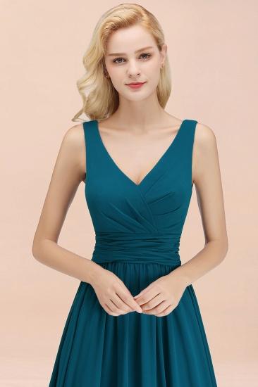 Modest Sleeveless V-Neck Long Chiffon Bridesmaid Dress Online with Ruffle_56