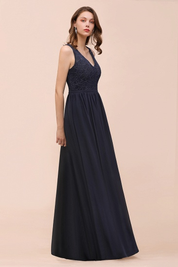 Affordable Lace V-Neck Navy Bridesmaid Dress with Open Back_7