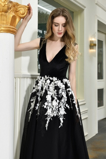 BMbridal Sexy Black Long Prom Dress V-Neck Evening Gowns With Lace Appliques_11