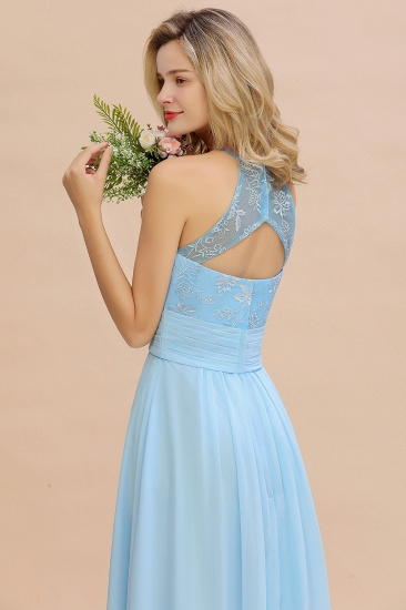Elegant Jewel Ruffle Affordable Chiffon Bridesmaid Dress with Appliques_9