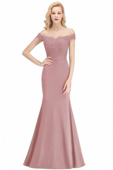 BMbridal Mermaid Off-the-shoulder Long Appliques Satin Bridesmaid Dress_1
