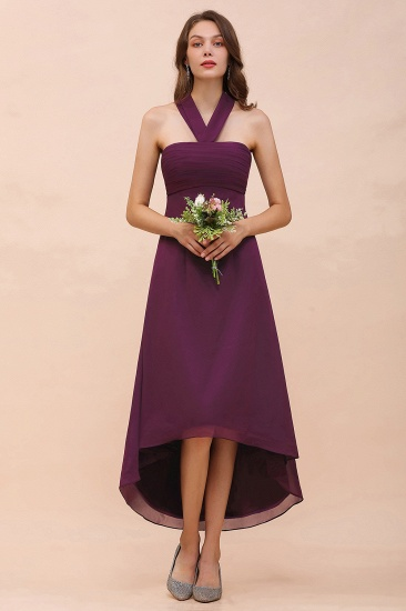 Stylish Hi-Lo Halter Grape Chiffon Affordable Bridesmaid Dresses with Ruffle_4