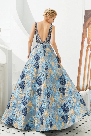 BMbridal Glamorous V-Neck Sleeveless Print Prom Dress Long Beadings Evening Gowns_3