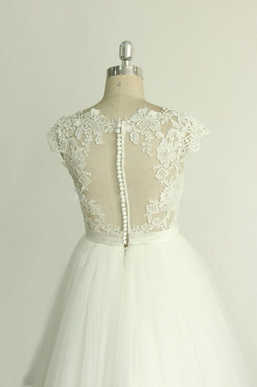 BMbridal Stylish White Tulle Lace Wedding Dress Appliques A-line Ruffles Bridal Gowns On Sale_5