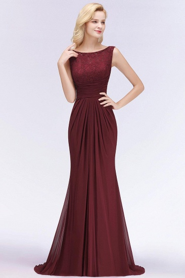 BMbridal Mermaid Burgundy Chiffon Ruffles Evening Dress_4