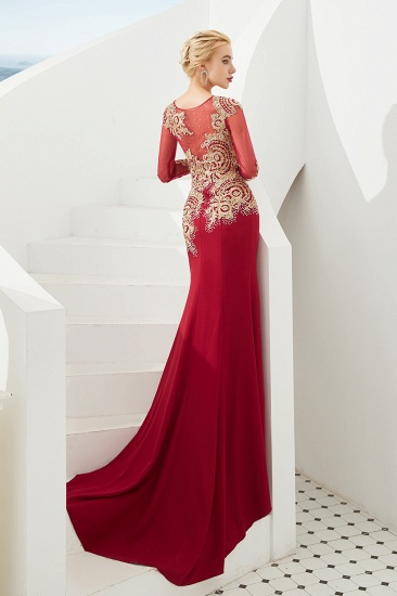 Burgundy Long Sleeve Mermaid Prom Dress With Gold Appliques Online_3