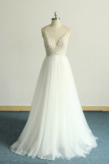 BMbridal Gorgeous A-line White Lace Tulle Wedding Dress Sleeveless Appliques Bridal Gowns On Sale_1