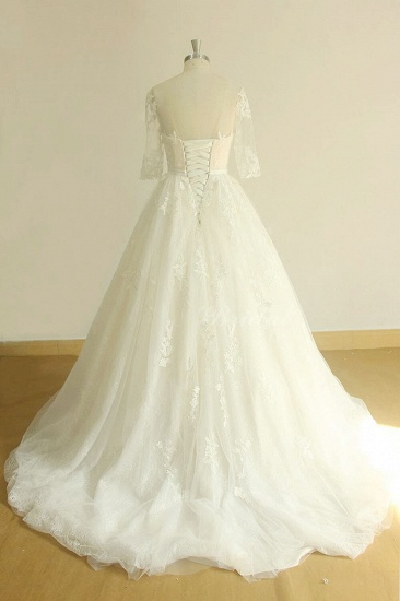 BMbridal Unique Halfsleeves Lace Tulle Wedding Dress A-line White Appliques Bridal Gowns On Sale_3