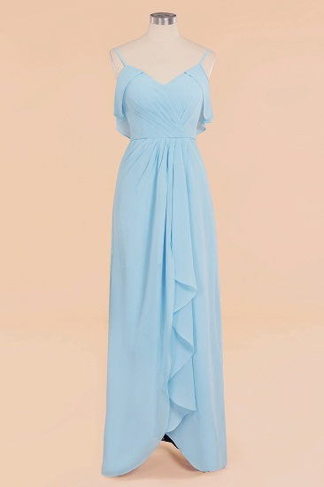 BMbridal Modest Hi-Lo V-Neck Ruffle Long Bridesmaid Dress with Slit_59