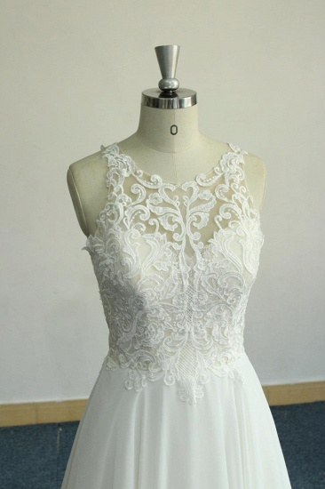 Unique White Jewel Sleeveless Wedding Dress Appliques Chiffon Bridal Gowns On Sale_5