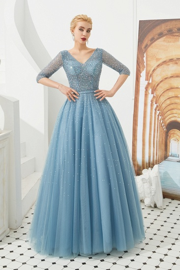 Dusty Blue V-Neck Half-Sleeve Prom Dress Long With Beadings Lace-up_7
