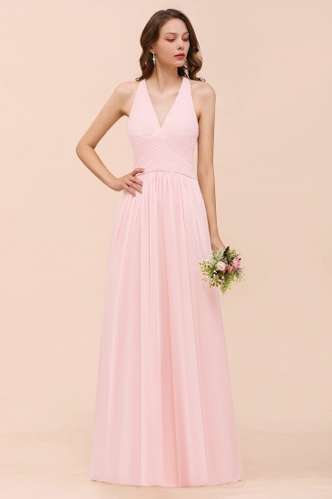 Chic V-Neck Blushing Pink Chiffon Affordable Bridesmaid Dress with Ruffle_4