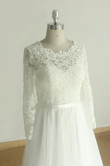 Elegant A-line Lace Tulle Wedding Dress Long Sleeves Appliques Bridal Gowns Online_4
