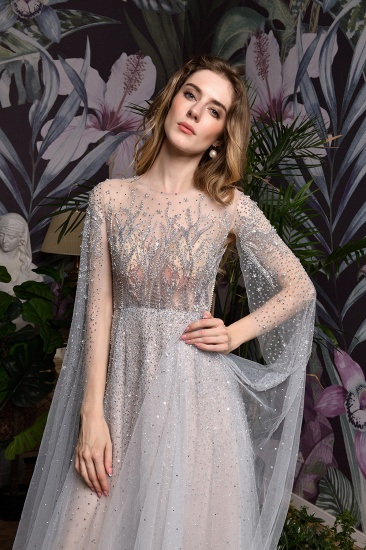 BMbridal Luxurious Tulle Crystals Long Prom Dress Online With Ruffle Sleeves_21