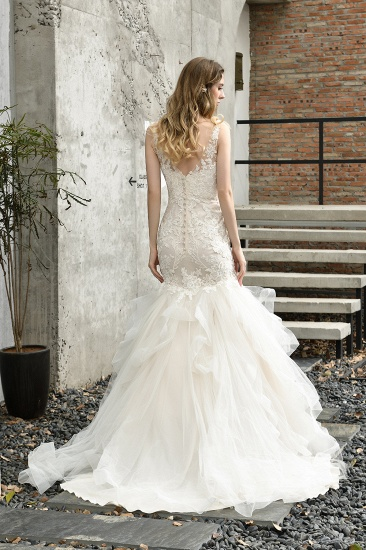 BMbridal Gorgeous Mermaid Tulle Appliques Ivory Wedding Dress_3