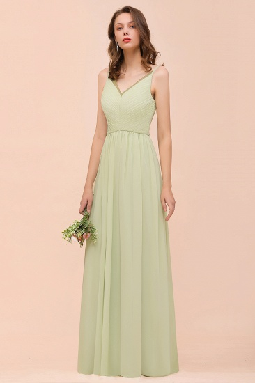 BMbridal Popular V-Neck Sage Chiffon Affordable Bridesmaid Dress with Low Back_5