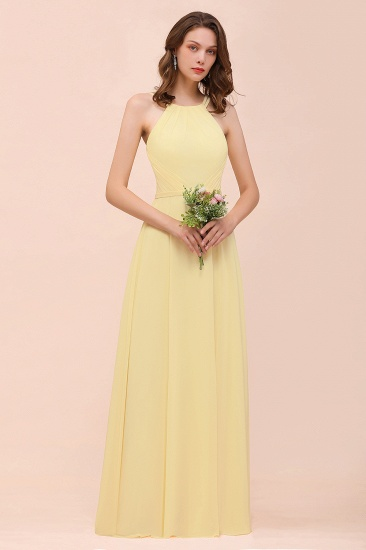 Affordable Daffodil Chiffon Sleeveless Long Bridesmaid Dress
