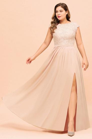Elegant Jewel Chiffon Lace Affordable Bridesmaid Dresses with Slit_7