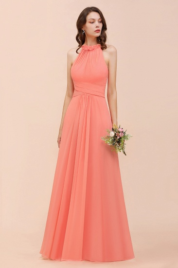 BMbridal Modest Halter Ruffle Coral Chiffon Affordable Bridesmaid Dress Online_7