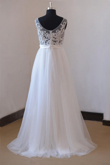 BMbridal Gorgeous Jewel Appliques Sleeveless Wedding Dress Tulle Ruffles White Bridal Gowns On Sale_3
