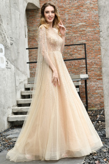 Luxurious Tulle Crystals Long Prom Dress Online With Ruffle Sleeves_7