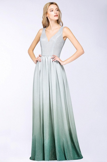 BMbridal A-line Ruffles V-Neck Long Evening Dress