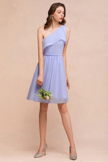 Affordable One Shoulder Ruffle Lavender Chiffon Short Bridesmaid Dress_5