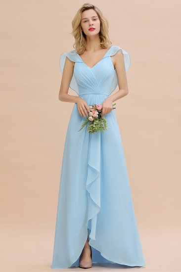BMbridal Modest Hi-Lo V-Neck Ruffle Long Bridesmaid Dress with Slit_54