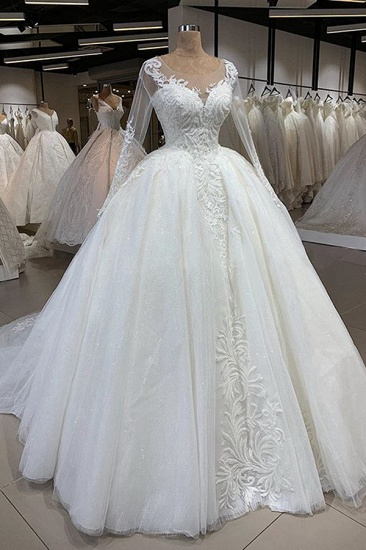 Gorgeous Jewel Longsleeves Lace Wedding Dresses A-line Tulle Ruffles Bridal Gowns With Appliques Online_1